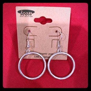 Silver Tone Endless Circle Earrings New